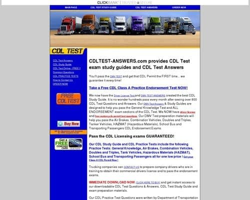 CDL TEST ANSWERS - Driver License Test questions and answers   HAZMAT ENDORSEMENT - CDL PRACTICE TEST - STUDY GUIDE FOR CDL TEST - CLASS A CLASS B PERMIT TEST
