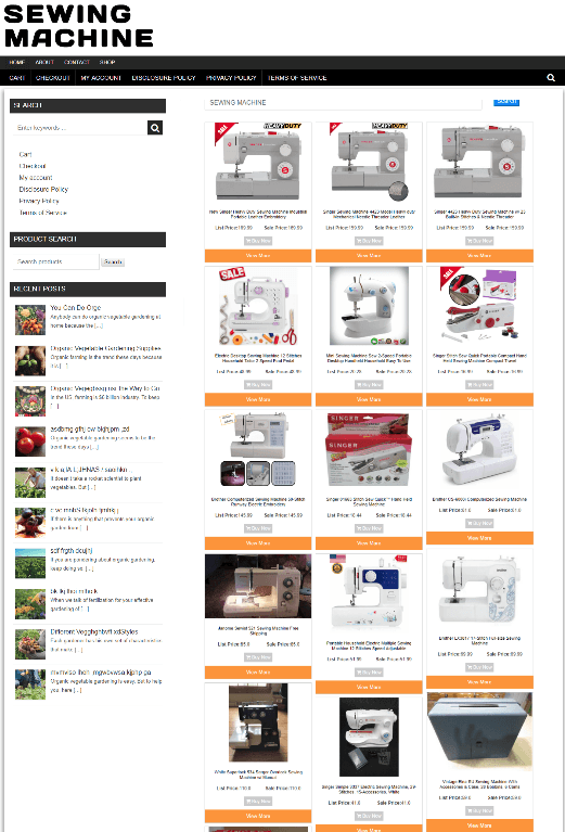 SEWING MACHINE ECOMMERCE WEBSITE BUSINESS WITH DOMAIN & 1 YEARS HOSTING