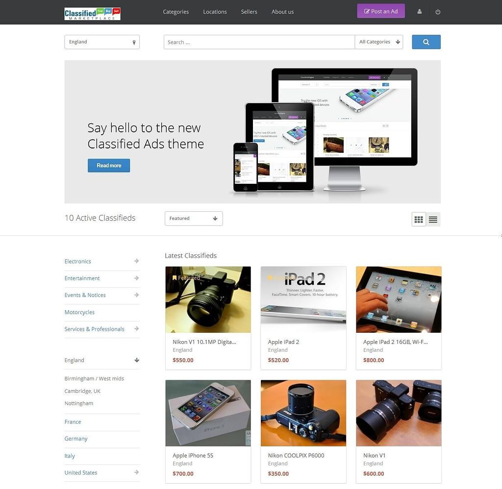 Classified Ads website responsive design wordpress site multi seller marketplace