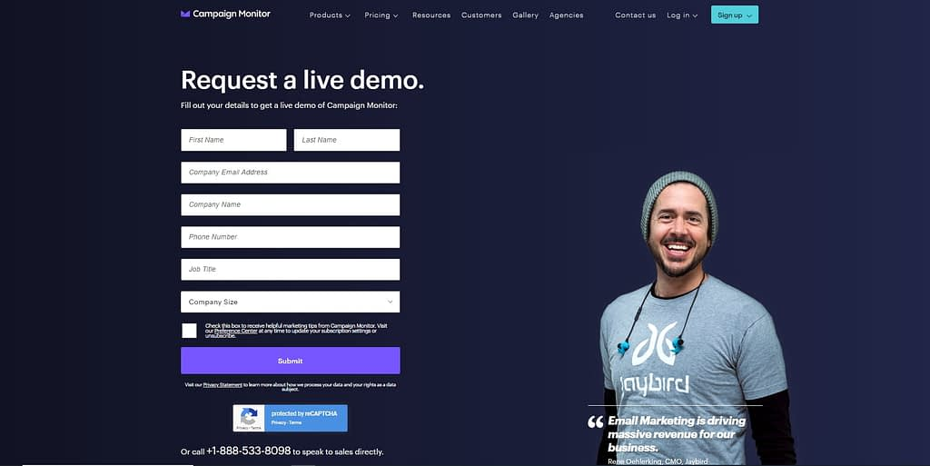 Live Demo Landing Page by Campaign Monitor