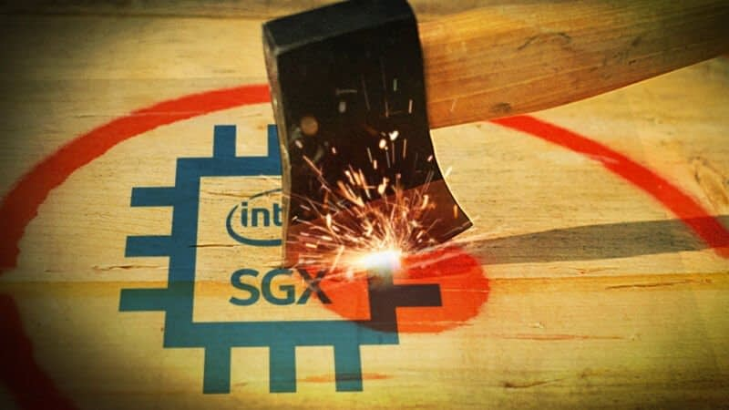 An ax strikes a piece of wood with the Intel logo.