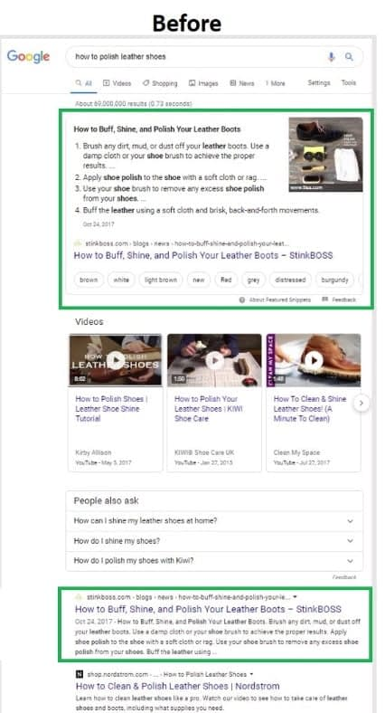 """Before the update, Stinkboss.com occupied the featured snippet for """"how to polish leather shoes"""" as well as a traditional blue-link listing."""